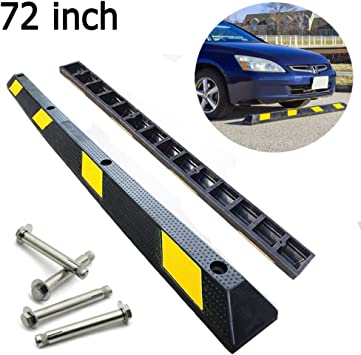 Garage Parking Stop >> 72 Inches Heavy Duty Rubber Car Stopper Garage Parking Stops Parking Curb Wheel Stop For Garage Parking Block For Car Trailer Garage Driveway 3 9
