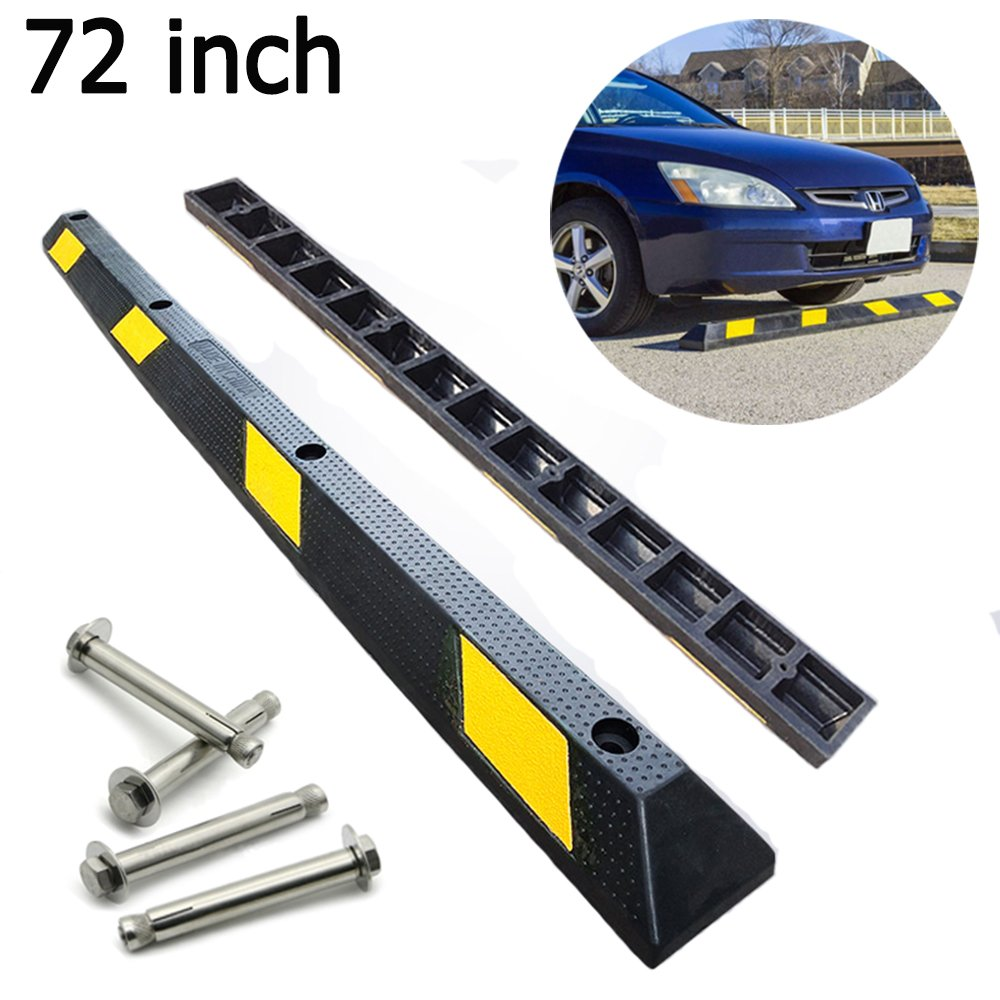 72'' Heavy Duty Rubber Car Stopper Garage Parking Stops Parking Curb Wheel Stop for Garage Parking Block for Car, RV, Trailer, Garage, Driveway, 3.9'' Height - with 4 Pieces Mounting Anchor Kit