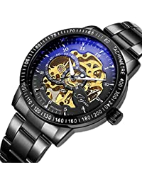 Mens Watch Casual Luxury Black Classic Skeleton Automatic Mechanical Stainless Steel Watch