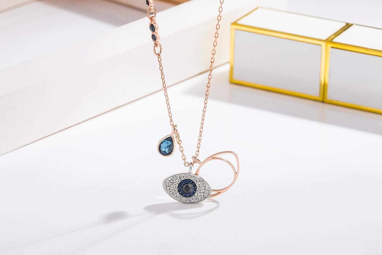 Bifriend-Silver Collana girocollo elegante minimalismo occhio di tacchino ciondolo collana portafortuna donna Occhio di diavolo collana gioielli accessori regalo