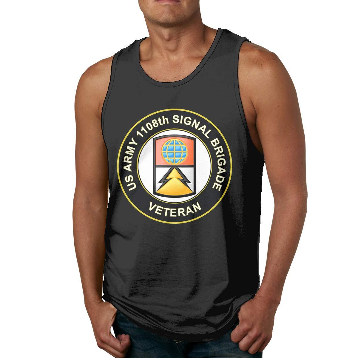 Army 1108th Signal Brigade Veteran Mens Cotton Undershirts Crew Neck Tank Tops U.S