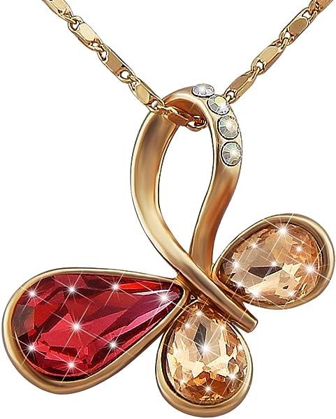 e7fdcad98bd8 hanessa Mujer de joyas de oro Collar de cadena colgante de oro de imitación  de lazos en Rosé chapado en oro con piedras de cristal y de Brillantes con  lazo ...