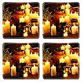 Liili Square Coasters Non-Slip Natural Rubber Desk Pads IMAGE ID: 22331954 Luxury ayurvedic spa massage still life