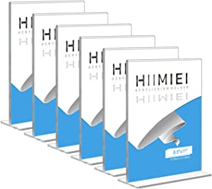 HIIMIEI 8.5x11 Acrylic Sign Holder Table Menu Display Stand, Clear Plastic 8.5x11 Double Sided Picture Frames for Desk Display(6 Pack)