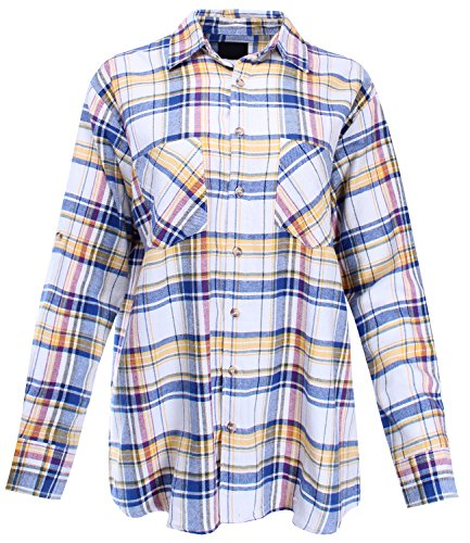 Yellow Windowpane - Boyfriend Shirt Flannel Plaid Button Down with Roll Up Sleeves Yellow Blue ONE Size Size