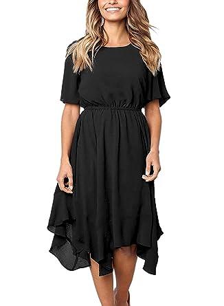 5c3809ca59b4 Ancapelion Women's Chiffon Summer Dress Short Sleeve Black Midi Dresses for  Party/Cocktail/Evening