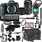 Canon EOS 6D Mark II 50mm f/1.8 STM Prime Lens + Tamron 70-300mm f/4-5.6 Di LD Macro Lens + 128GB Memory + Pro Battery Bundle + Power Grip + TTL Speed Light + Pro Filters,(24pc Bundle)