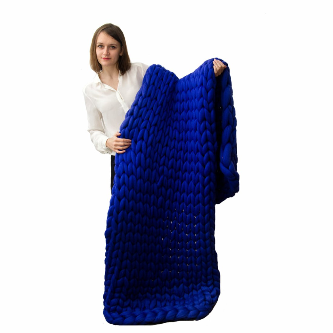 EASTSURE Knit Acrylic Blanket Hand-made Chunky Bed Sofa Throw Super Large,Sapphire Blue,47''x71'' by EASTSURE