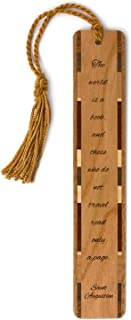 product image for Saint Augustine Quote About Travel and Reading Books - Engraved Wooden Bookmark with Tassel - Also Available Personalized