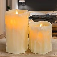 GIGALUMI - Juego de 2 velas LED con gotas de cera para Halloween, velas falsas y sin llama, para Navidad, Halloween…