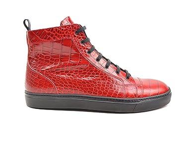 19fd7df0f323 DIS Gianmarco - Baskets Montantes en Cuir imprimé Crocodile Rouge   Amazon.fr  Chaussures et Sacs