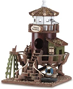 Good decoration to embellish your home Great gift for any bird lovers or nature lovers. Birdhouse Bird's house Island Paradise Lighthouse Wooden Hanging Yard Garden Outdoor Decor Lawn Roost