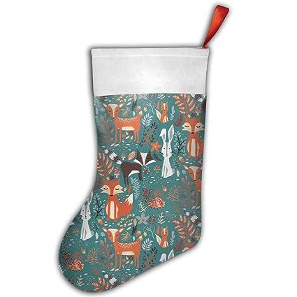 Animales del bosque zorro ciervo conejo calcetín de Navidad calcetines de Navidad rojo