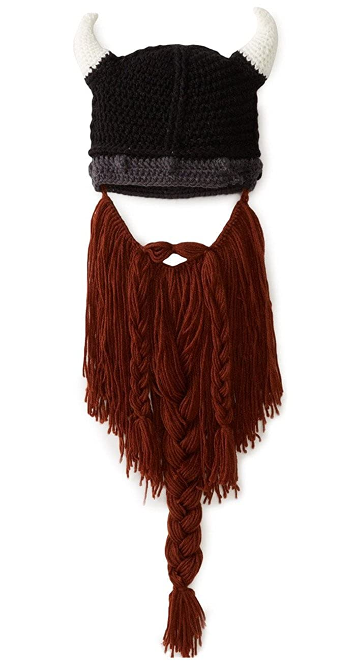 Kafeimali Men's Head Barbarian Beanie Beard Hats Viking Horns Knit Caps MZ70