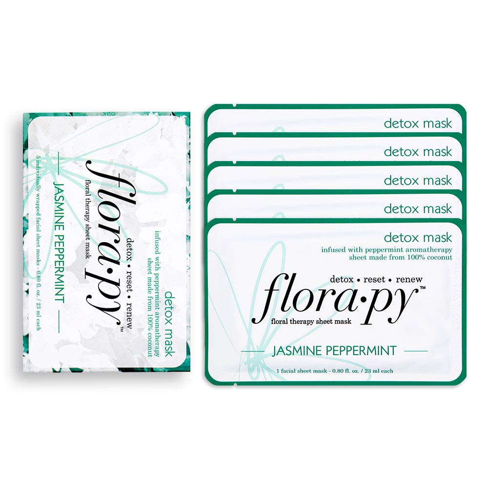 Florapy Beauty Detox Sheet Aromatherapy Mask, Jasmine Peppermint, 5 Count