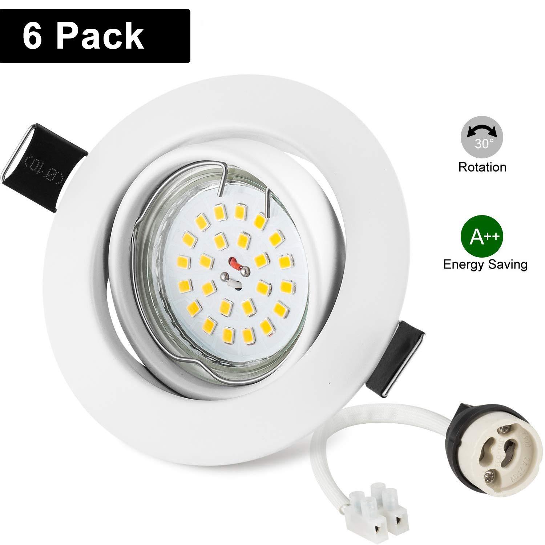 Foco Empotrable GU10 Blanco, Wowatt 6x Luz de Techo Interior GU10 LED Blanco Frio 6000K