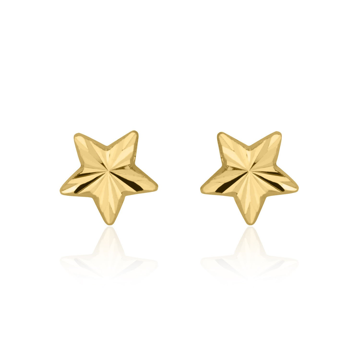 14K Solid Yellow Gold Star Screw Back Stud Earrings for Teens and Women Kids Gift Children