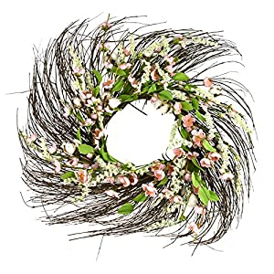 Homeford Wrapped Twig Cotton Blossom Wreath, Pink, 22-Inch 54