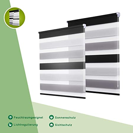 Oubo Zebra Roller Blinds White Gray Anthracite 50 X 150 Cm Day And