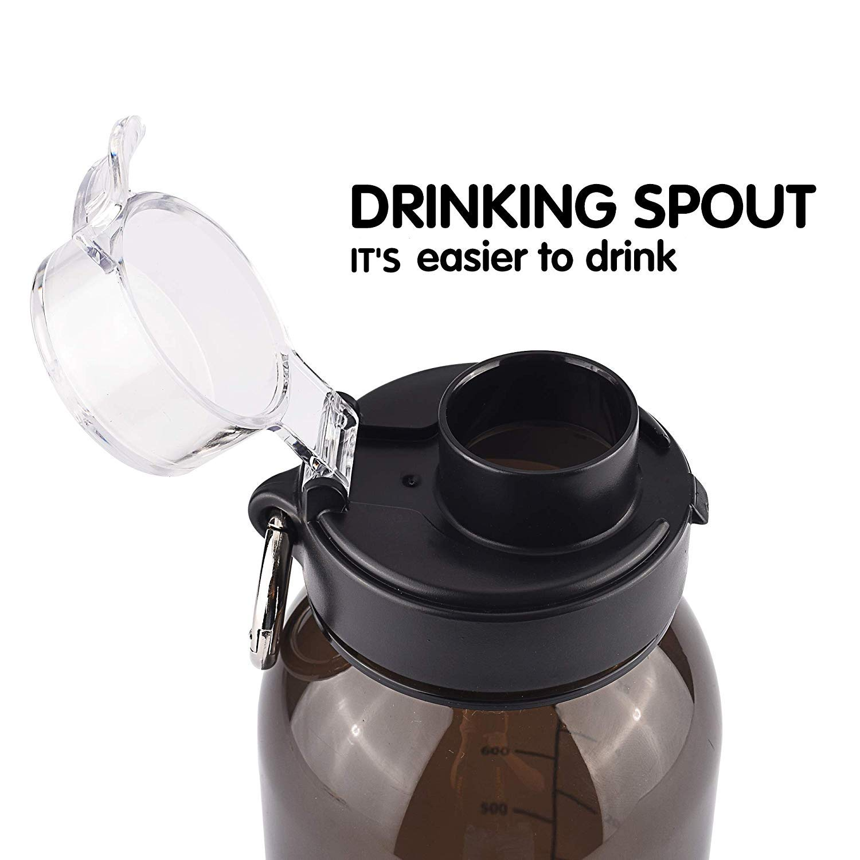 Sports BPA-Free Wide Mouth Tritan Spill Proof and Leak Proof Drinking Bottle 34oz 1 Quart BOTTLED JOY Water Bottle Flip-top with Carabiner Ring