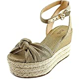 MICHAEL Michael Kors Women's Maxwell Mid Wedge Gold Metallic Canvas/Leather 7...