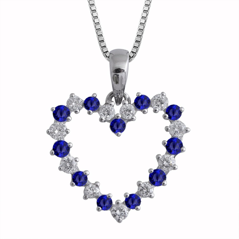 Amazon IGI Certified 14K White Gold Heart Diamond and Blue