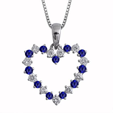 Amazon igi certified 14k white gold heart diamond and blue igi certified 14k white gold heart diamond and blue sapphire necklace 12 carat aloadofball Image collections