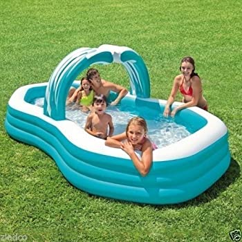 Summer escapes deluxe frosted inflated family - Intex swim center family lounge pool blue ...
