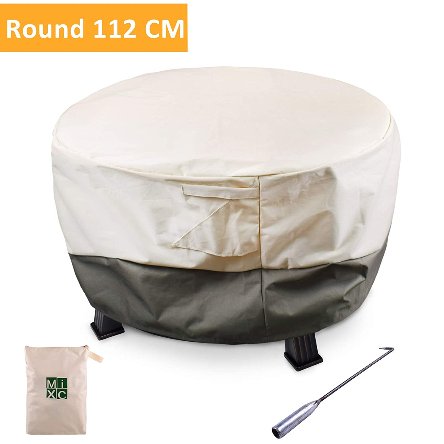 Deluxe Oxford Fire Pit Cover, MIXC Heavy Duty Waterproof Round Fire Pit Cover, Patio Outdoor Fire Bowl Cover, Air Vents and Elastic Hem, UV Protected & Weather Resistant Protective For Garden BBQs Patio Sets (112 cm)