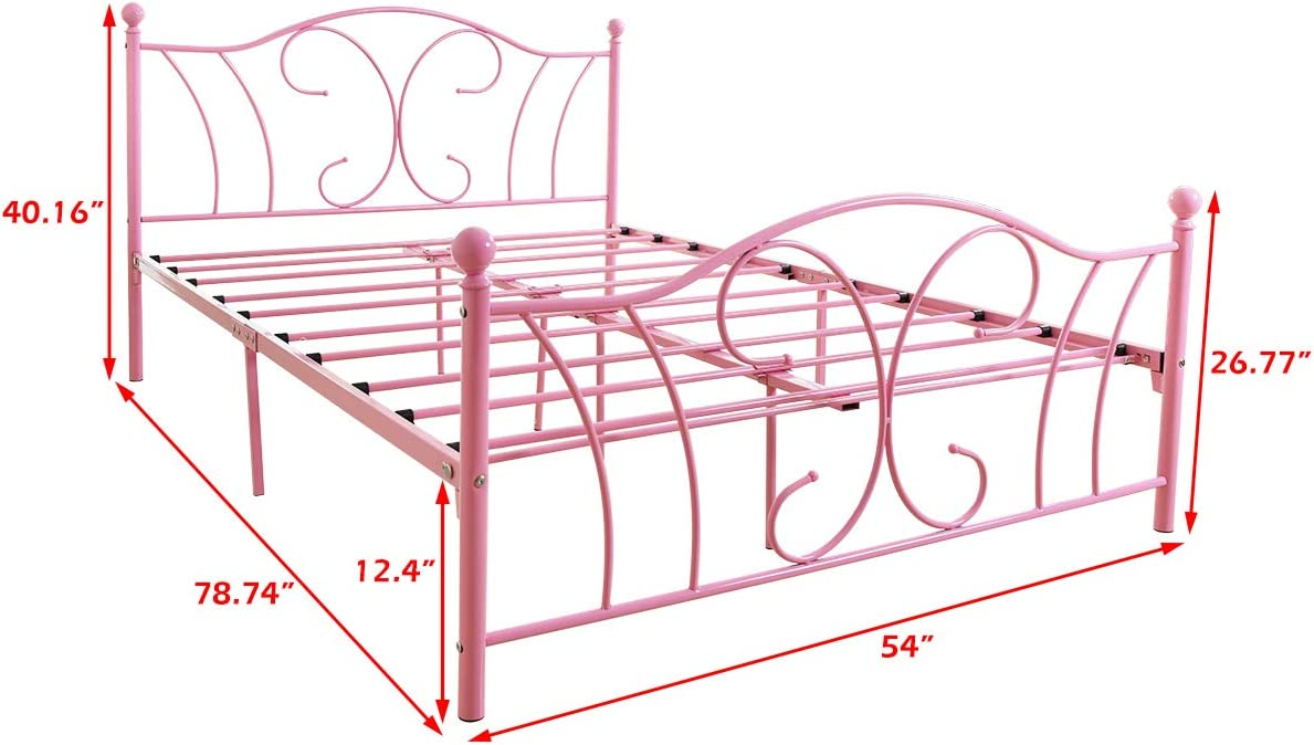 Queen Size Metal Bed Frame Mattress Platform Foundation with Headboard Iron Beds Heavy Duty Steel Slats Box Spring Replacement Pink