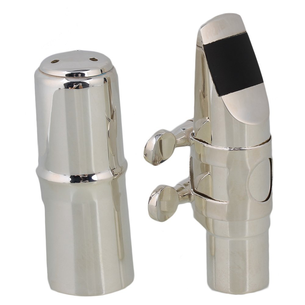 Yibuy #6 Silver Nickel-plated B-flat Soprano Saxophone Mouthpiece with Ligature Reed