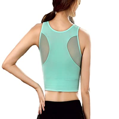 405d34eb265 Women Sports Bras Mesh Fitness Yoga Bra Tops Wirefree Padded Gym Running  Vest