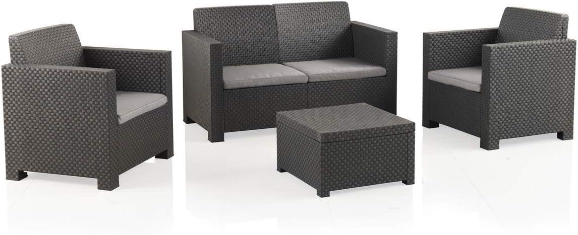 Shaf EVO Conjunto Muebles Sofá 2 Plazas + 2 Sillones, Antracita: Amazon.es: Jardín