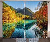 Cheap Ambesonne Landscape Curtains, Colorful View of Five Flower Lake with Azure Water Among Fall Woods in Jiuzhaigou, Living Room Bedroom Window Drapes 2 Panel Set, 108W X 84L inches, Multicolor