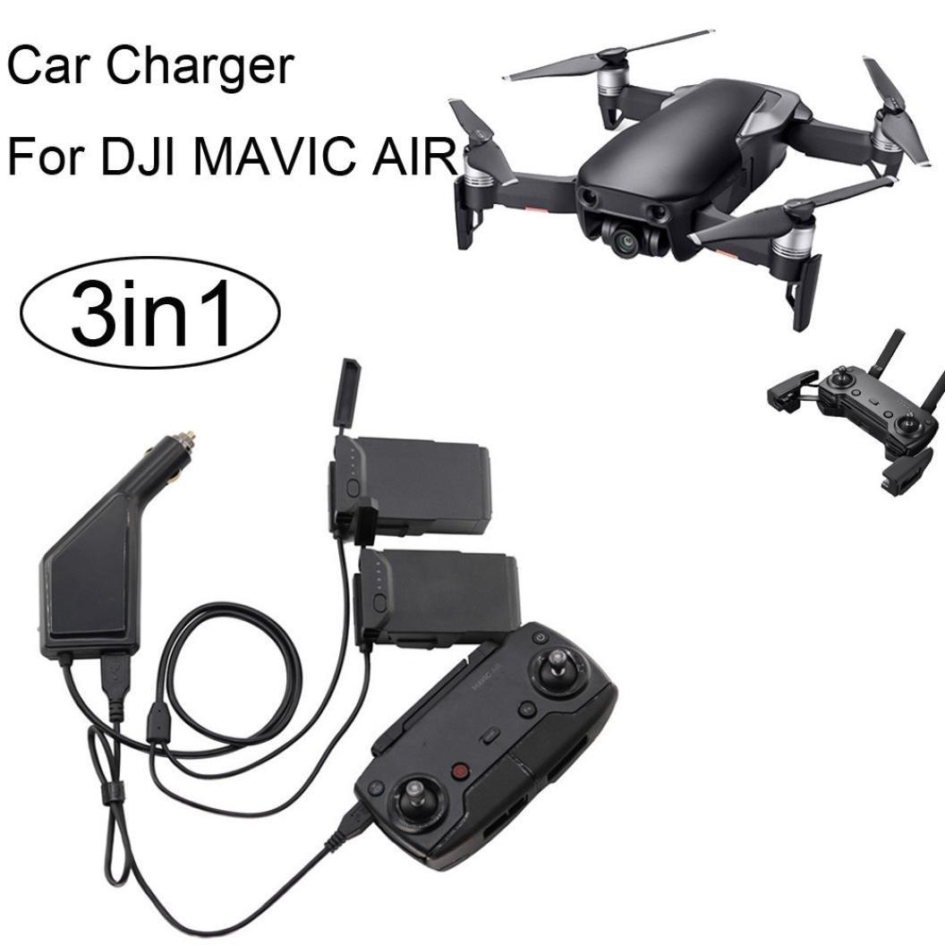 インテリジェントfiaya 3 in1マルチUSB車用充電器(バッテリー2個&リモートコントロール)リモートコントロールデュアルバッテリー充電器for DJI Mavic Air B07B9QC8K4