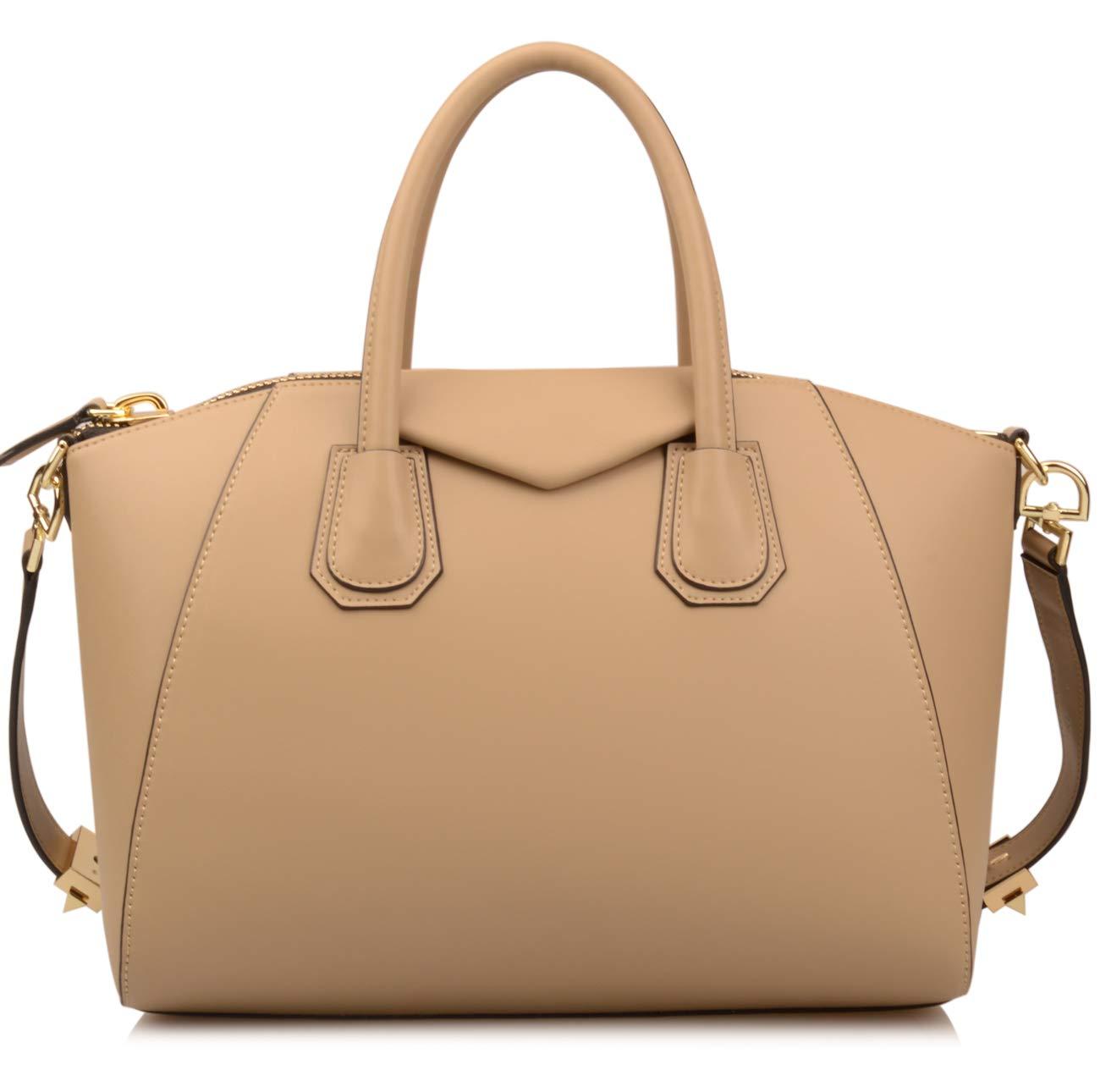 Ainifeel Women's Genuine Leather Everyday Purse Top Handle Handbags Shoulder Bags (Medium, Taupe)