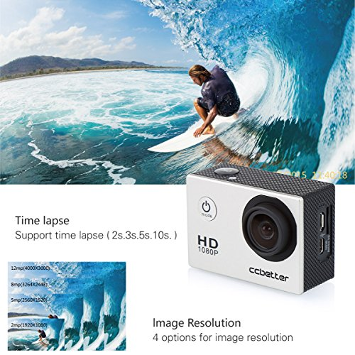 CCBETTER? Sports Action Camera CS710 12mp 1080p 120 Degree Waterproof Diving Video DVR (Grey)