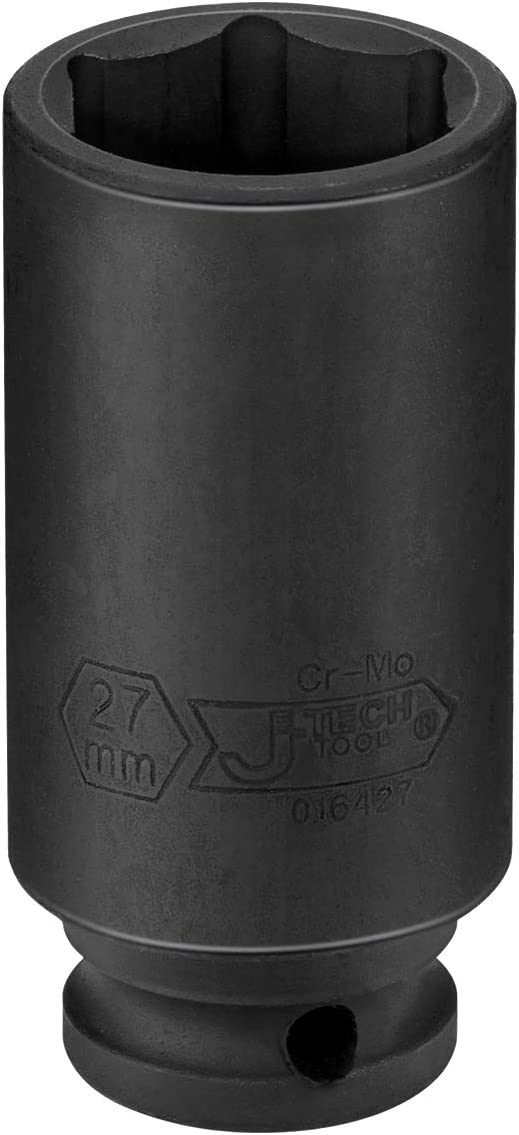 Jetech 1//2 Dr 27mm Deep Impact Socket Professional Cr-Mo 1//2-Inch Drive 27mm Deep Impact Socket with 6-Point Design Metric 1//2-Inch Drive Deep Impact Socket