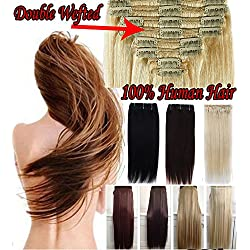 """14""""-22"""" Inch Double Weft Thick Full Head Clip in 100% Remy Human Hair Extensions"""
