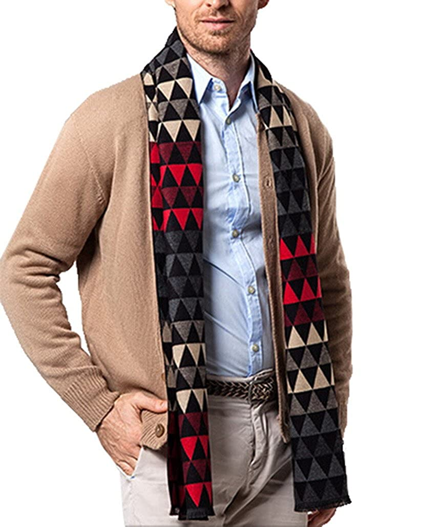 Men Cashmere Scarves Casual Warm Thick Wap for Business Men - Feather Character
