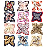 Vbiger 12pcs Women Small Square Satin Scarf Mixed Neck Head Scarf Set 19.7 x 19.7 inches