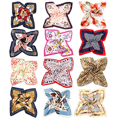 Vbiger 12pcs Women Small Square Satin Scarf Mixed Neck Head Scarf Set 19.7 x 19.7 inches ()