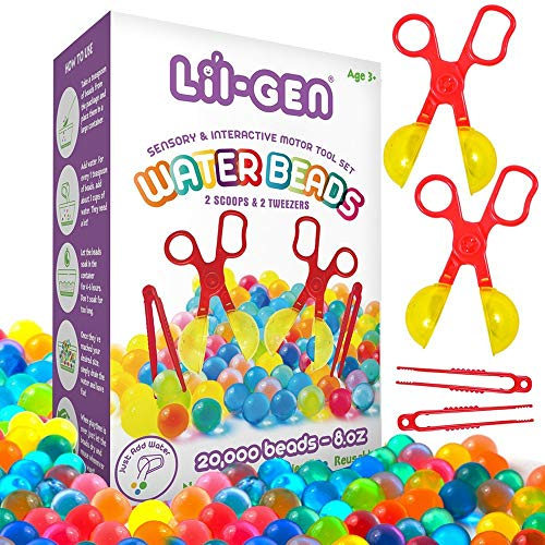 Li'l Gen Water Beads with Fine Motor Skills Toy Set, Non-Toxic Water Sensory Toy for Kids - 20,000 Beads with 2 Scoops and Tweezers for Early Skill -