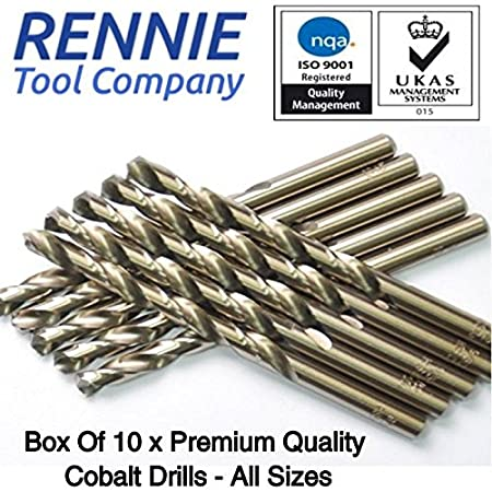 Drills 6mm x 93mm Cobalt Jobber Drills Box of 10 x HSS Gold Cobalt Jobber Drill Bit for Stainless /& Hard Steels UK Seller