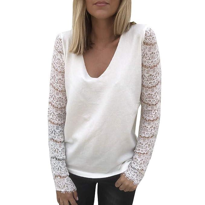 Tops Blancas Camisas Vestidos Mujer Camiseta bluson Chica Otoño Invierno Las Mujeres Atractivas de la Moda de Encaje de Manga Larga Ahuecan hacia Fuera con ...