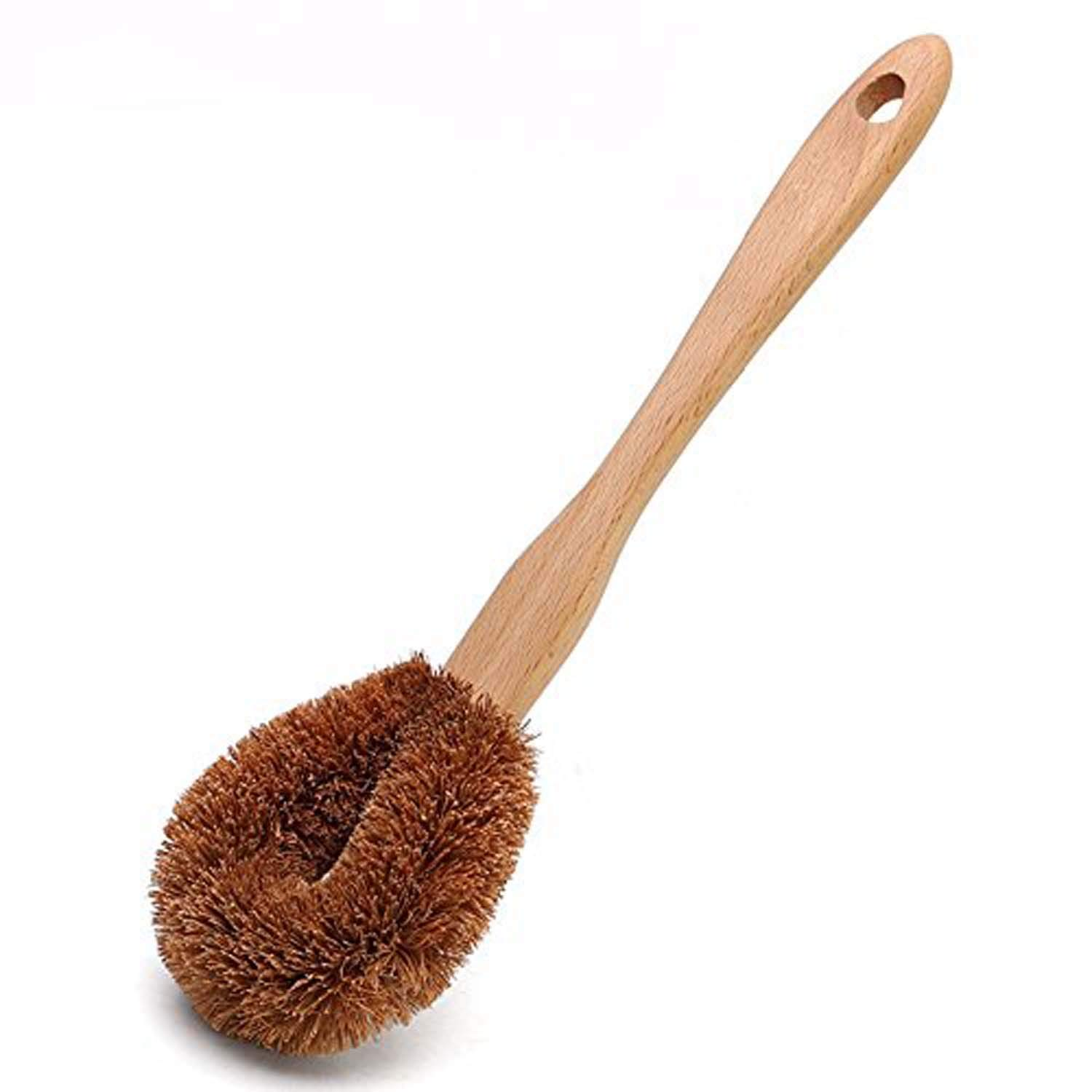 GOHIDE 1pc Bowl Clearing Brush by Natural Coconut Plant Fiber and Beechwood Antislip Grip Handle Dish Brush Premium Grade Eco-Friendly Toilet Brush, Handle Length:22cm, Brush Head L:10cm, W:8.5cm XCX