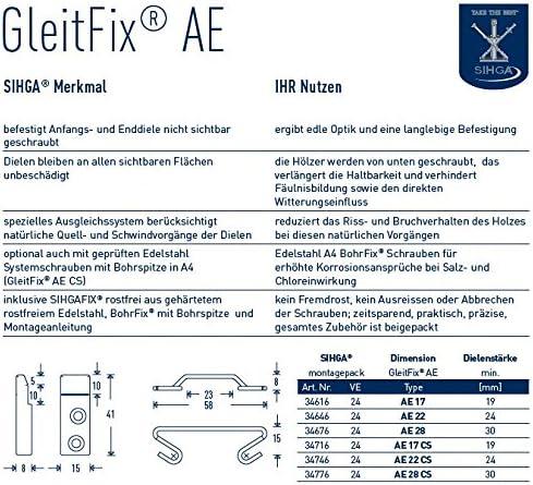 24 St/ück Montage Anfangs- und Enddiele GleitFix AE Sihgamid Holzterrassen-Montage Gr/ö/ße 17 mm ab 19 mm Dielenst/ärke Sihga