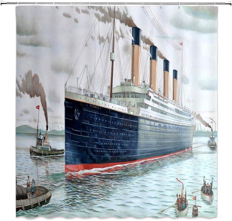 Jingjiji Nautical Decor Shower Curtain Retro Classic Titanic Ship Ocean Scenery Watercolor Art Bathroom Decoration Curtains Polyester Fabric with Hook Dark Blue (Blue, 70 X 70 Inch)