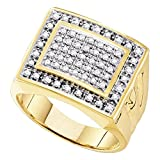 10k Yellow Gold Band Mens Diamond Fashion Ring Square Design Round Pave Set Style Polished 1/2 ctw