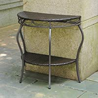 International Caravan Valencia All-Weather Wicker Half-Moon Patio Console Table